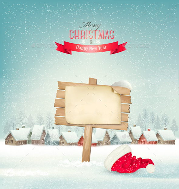 GraphicRiver Holiday Christmas Background with a Village 9706925