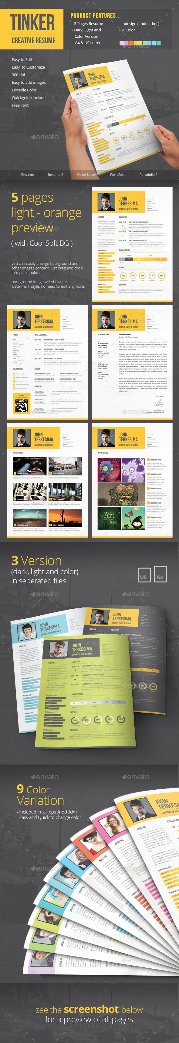 GraphicRiver Tinker Creative Resume 9430554
