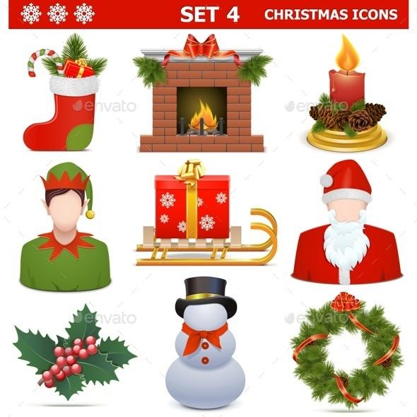 GraphicRiver Christmas Icons Set 4 9707416