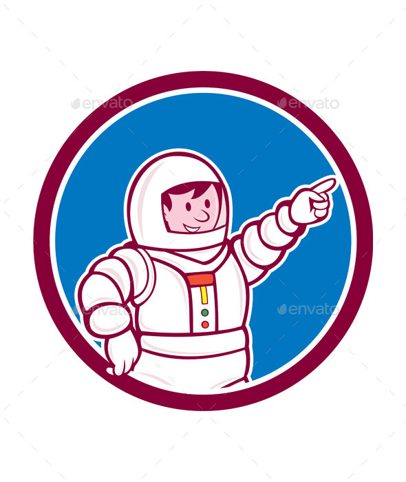 GraphicRiver Astronaut Pointing Front Circle Cartoon 9707461