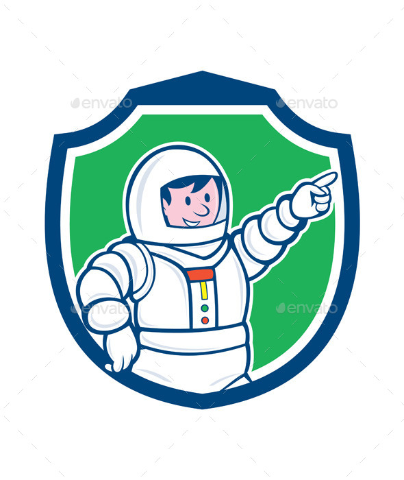 GraphicRiver Astronaut Pointing Front Shield Cartoon 9707517