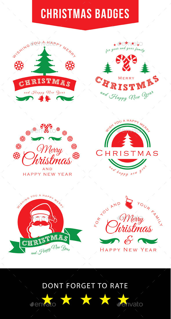 GraphicRiver Christmas Badges 9707639