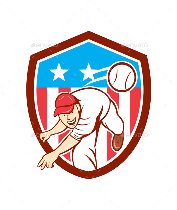 GraphicRiver Baseball Pitcher Outfielder Throwing Ball Shield 9707642