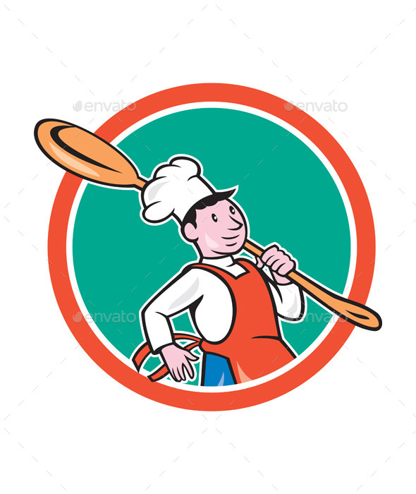 GraphicRiver Chef Cook Marching Spoon Circle Cartoon 9707645