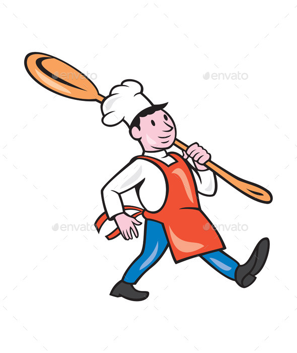 GraphicRiver Chef Cook Marching Spoon Cartoon 9707651