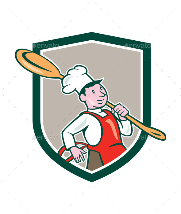 GraphicRiver Chef Cook Marching Spoon Shield Cartoon 9707655
