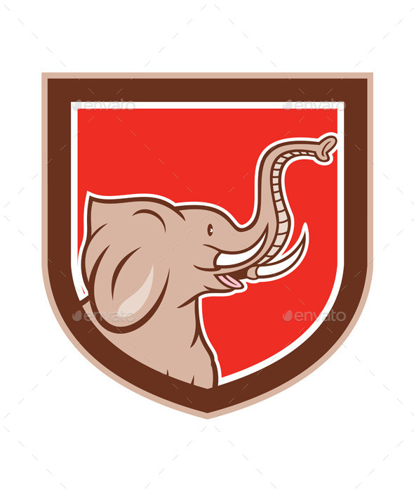 Elephant Head Side Shield Cartoon