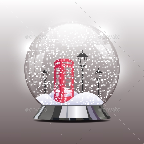 GraphicRiver Snow Globe with a Red Telephone Booth 9707739