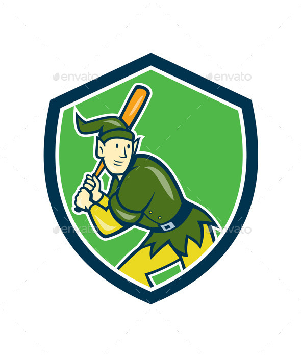 GraphicRiver Elf Baseball Player Batting Shield Cartoon 9707876