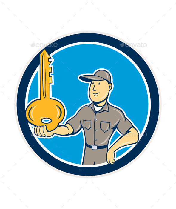 GraphicRiver Locksmith Balancing Key Cartoon 9707922