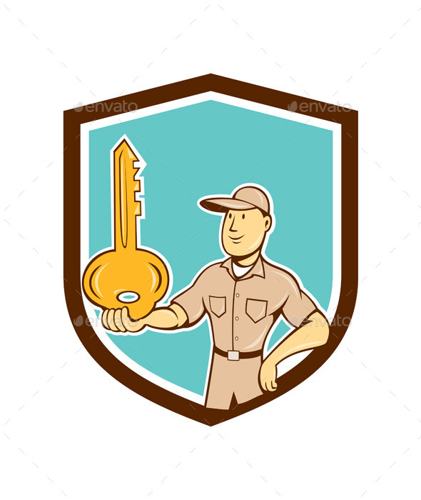 GraphicRiver Locksmith Balancing Key Palm Cartoon 9707969