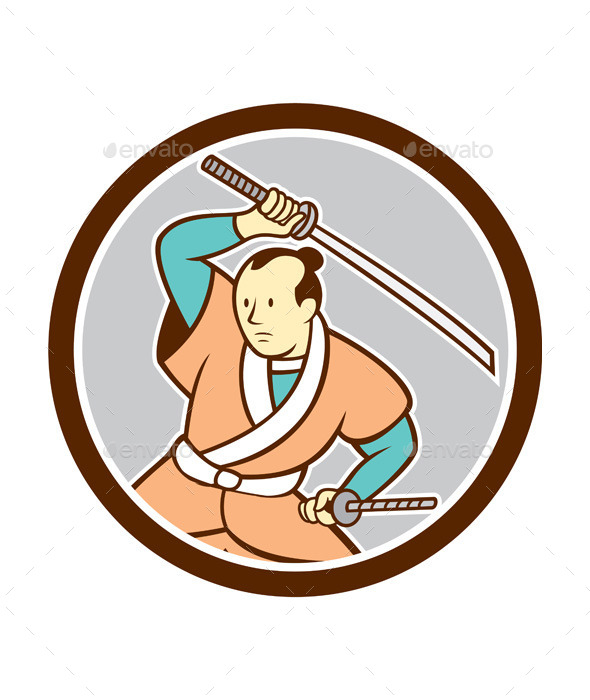 GraphicRiver Samurai Warrior Katana Sword Circle Cartoon 9708059