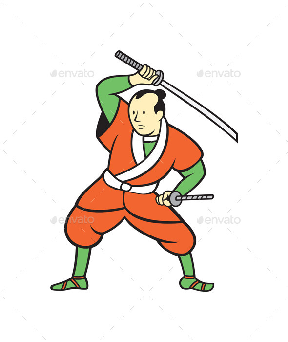 GraphicRiver Samurai Warrior Wielding Katana Sword Cartoon 9708062