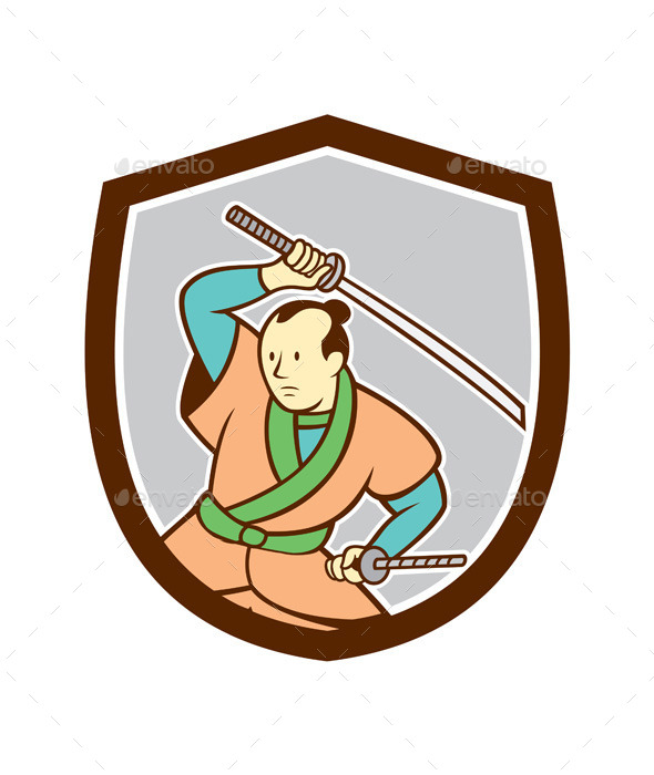 GraphicRiver Samurai Warrior Katana Sword Shield Cartoon 9708067