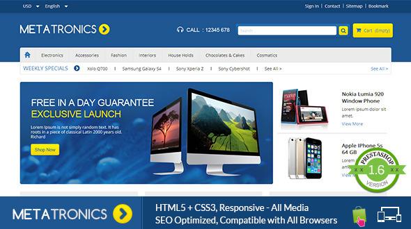 Meta Tronics - Prestashop Responsive Theme - PrestaShop eCommerce