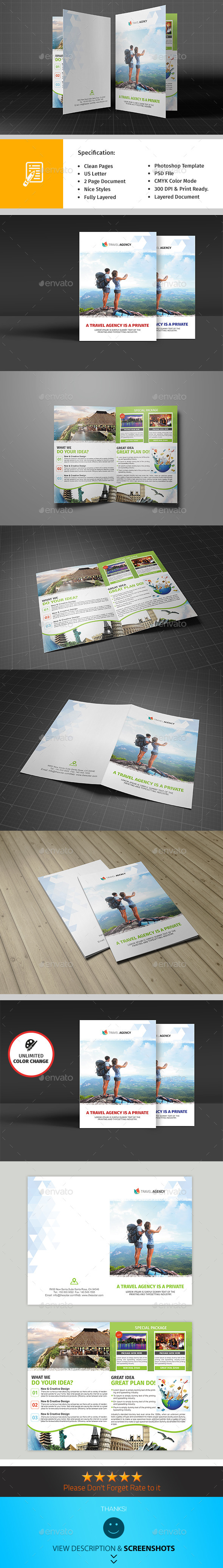 GraphicRiver Holiday Travel Agency Bifold Brochure 9709545
