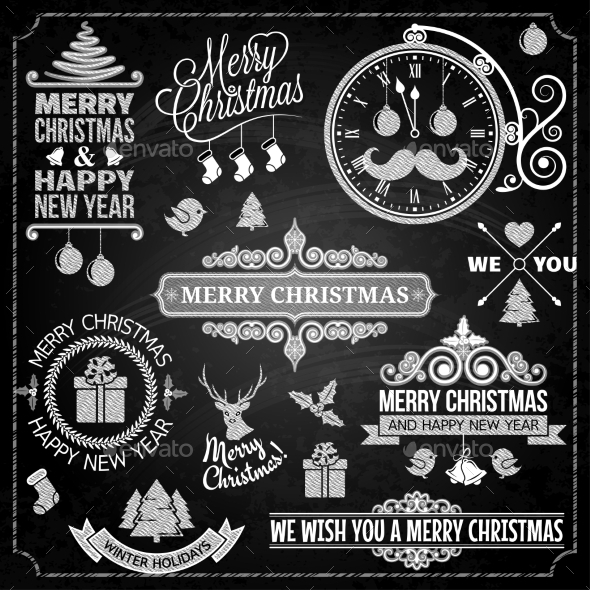 GraphicRiver Christmas Ornaments Chalk Set 9709586
