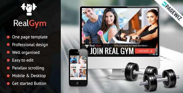 ThemeForest RealGym Pagewiz Health Fitness Landing Page 9693074