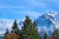 Alpine peaks in winter snow