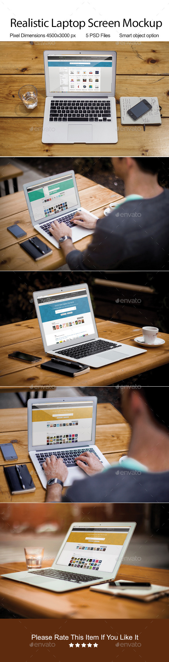 GraphicRiver Realistic Laptop Screen Mockup 9709800