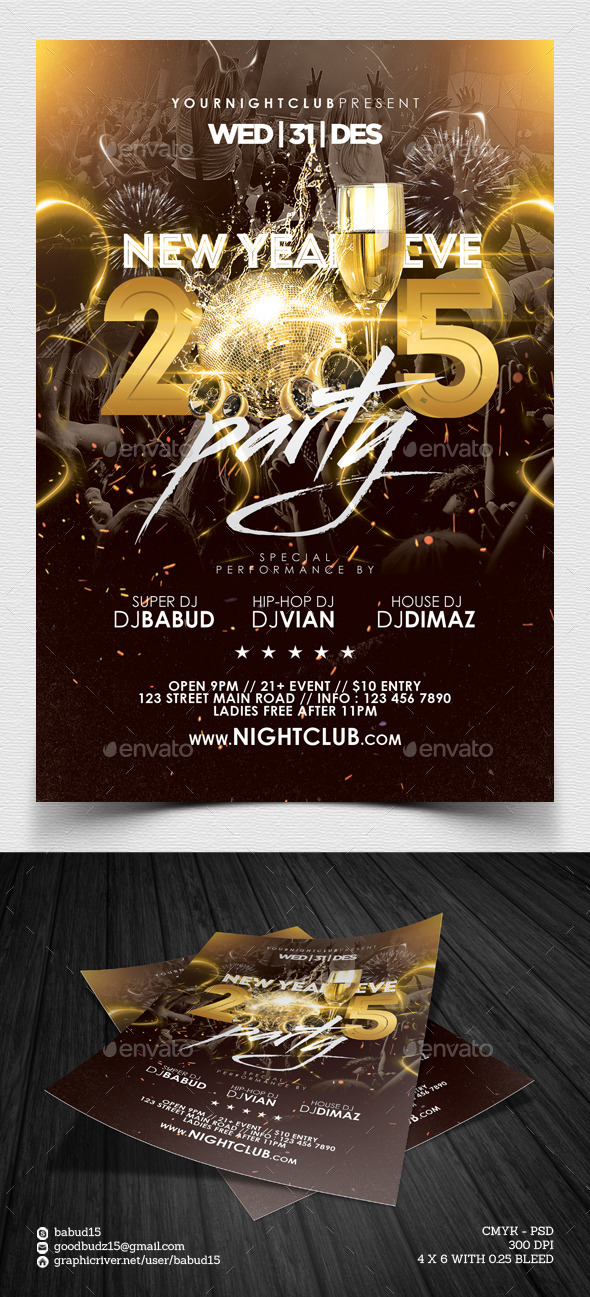 GraphicRiver NYE Party Flyer Template 9664075