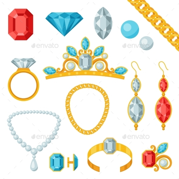 GraphicRiver Set of Jewelry and Precious Stones 9709833