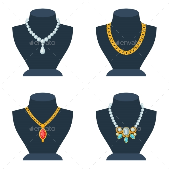 GraphicRiver Set of Store Mannequins for Jewelry Shop 9709834