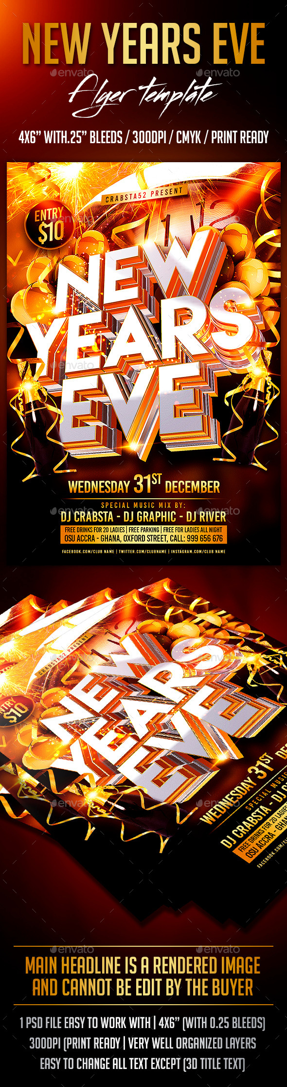 GraphicRiver New Years Eve Flyer Template 9709880