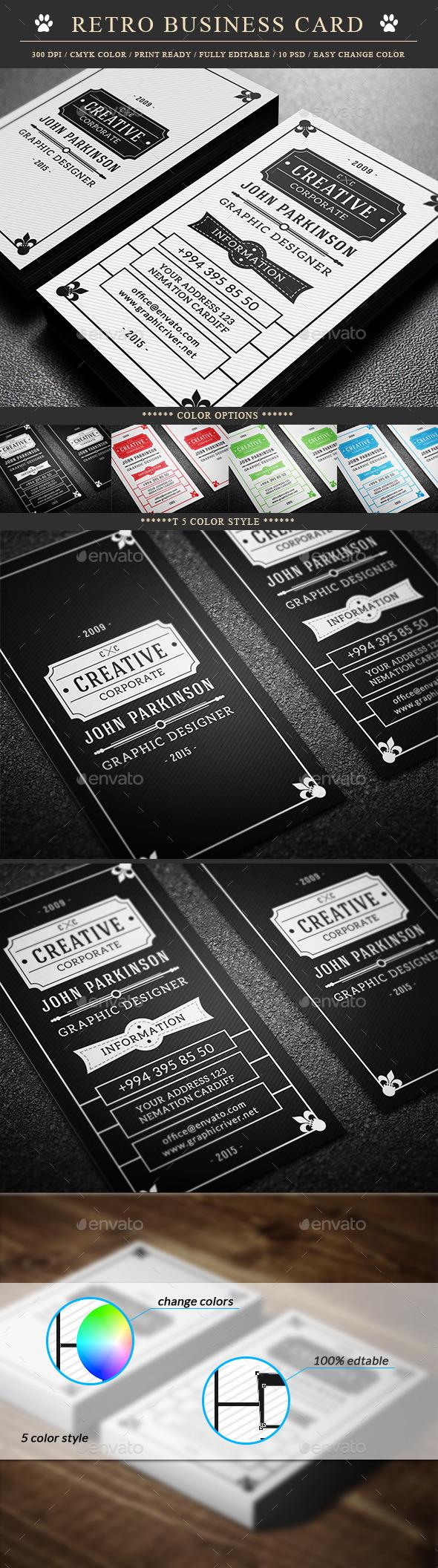GraphicRiver Retro Business Card 9709894