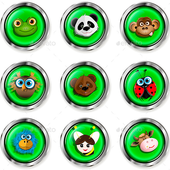 GraphicRiver Cartoon Animal Icons 9710513