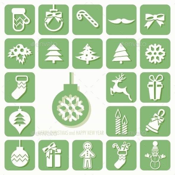 GraphicRiver Christmas Icons Set 9710525