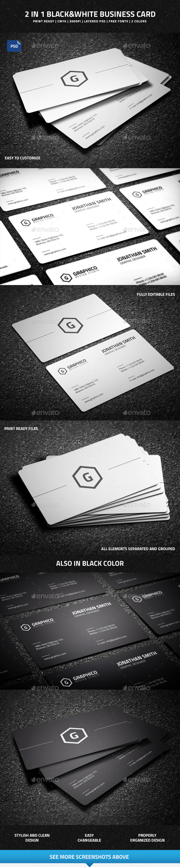 GraphicRiver 2 in 1 Black & White Business Card 9711052