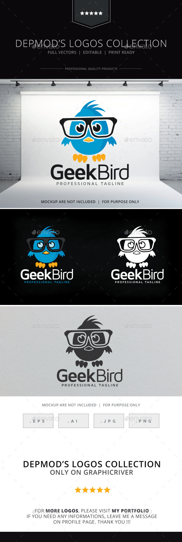GraphicRiver Geek Bird Logo 9711412