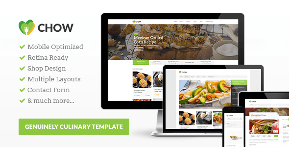 ThemeForest Chow Recipes & Food HTML5 Template 9711524