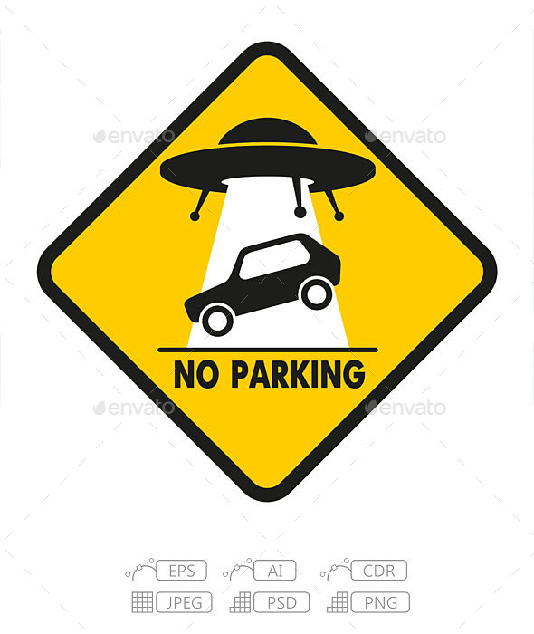 GraphicRiver Road Sign UFO Abduction Car 9711551