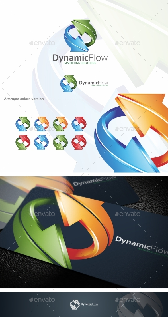 GraphicRiver Dynamic Flow Arrow Logo Template 9711798