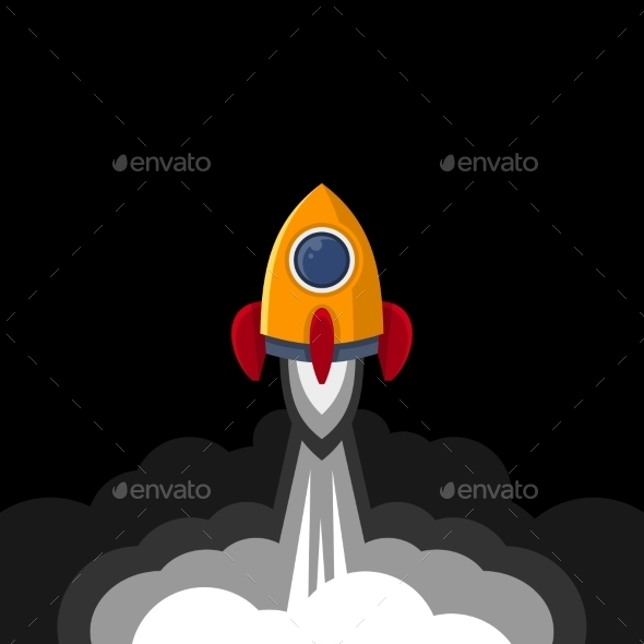 GraphicRiver Space Rocket on Black Sky Background 9711897