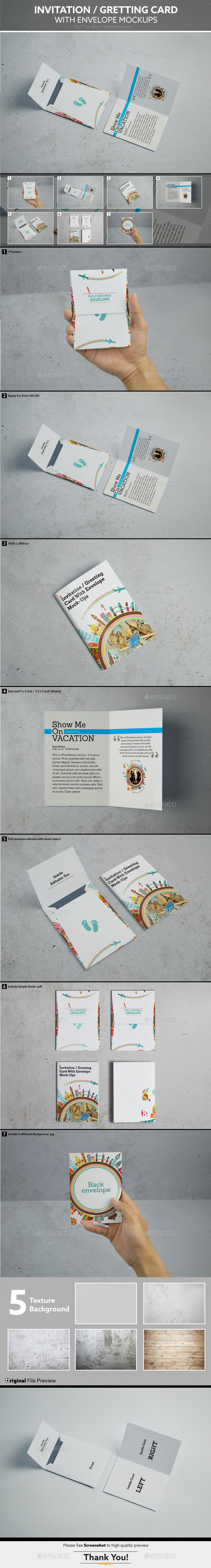 GraphicRiver Invitation Gretting Card With Envelope Mockups 9711908