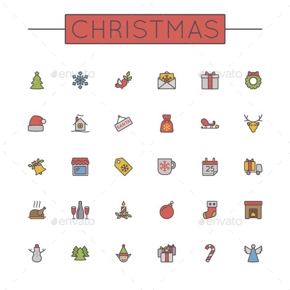 GraphicRiver Colored Christmas Line Icons 9711951