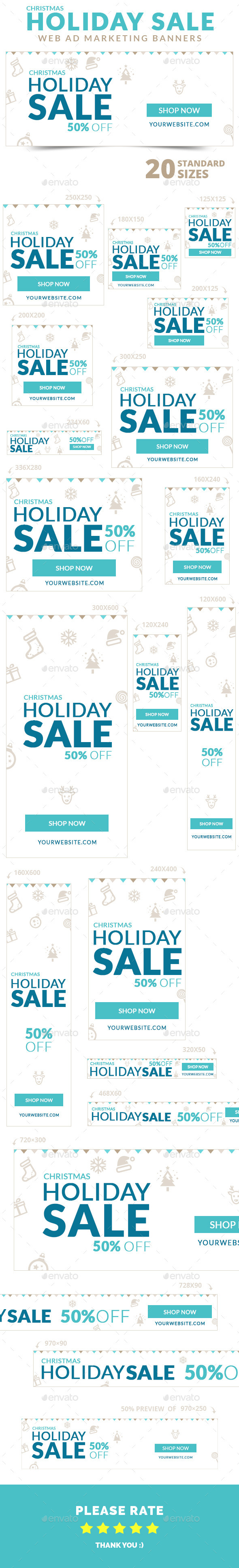 GraphicRiver Christmas Holiday Sale Web Ad Marketing Banners 9712038