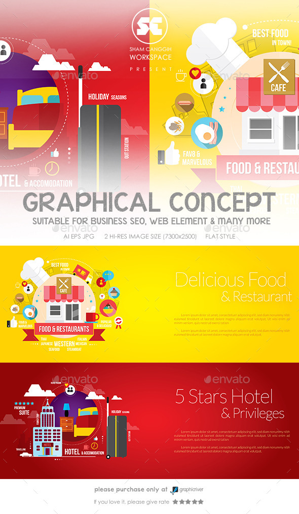GraphicRiver Flat Concept for Restaurant & Hotel 9712156