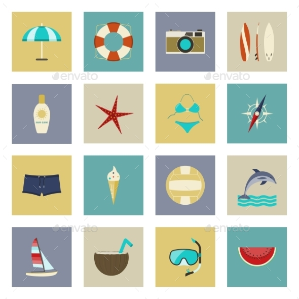 GraphicRiver Beach Vacation and Travel Flat Icons Set 9712598