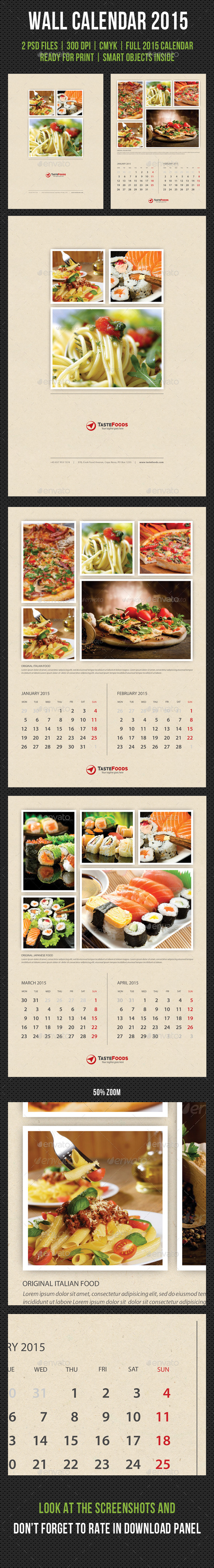 GraphicRiver Cook And Food Wall Calendar 2015 V02 9712635