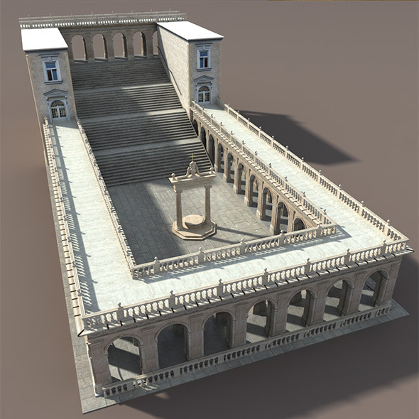 Montecassino Castle - Patio - 3DOcean Item for Sale
