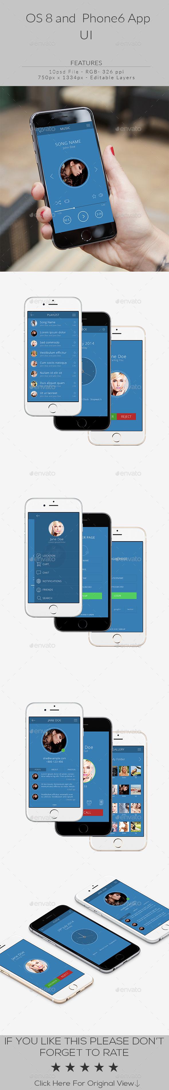 GraphicRiver OS8 And Phone6 App UI 9673335