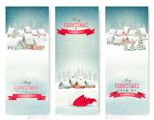 GraphicRiver Holiday Christmas Banners with Villages 9713240