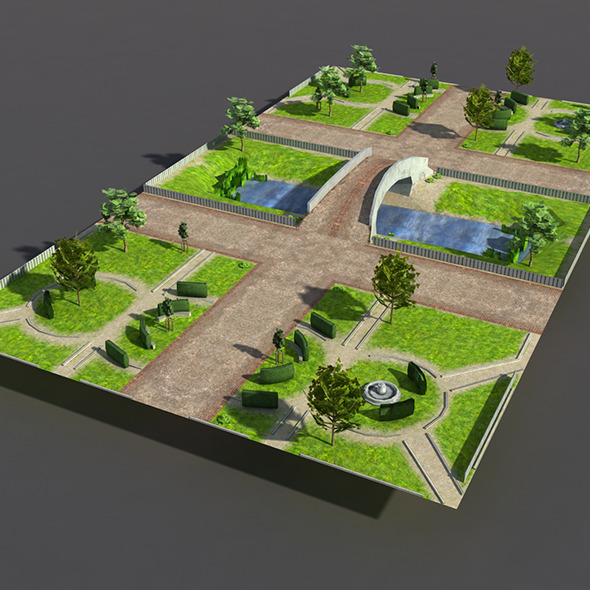 3d model 3docean low poly park 9713308 for Gardening tools 3d model