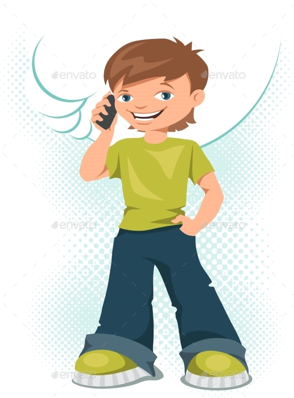 Young Teen Boy Talking on His Mobile Phone