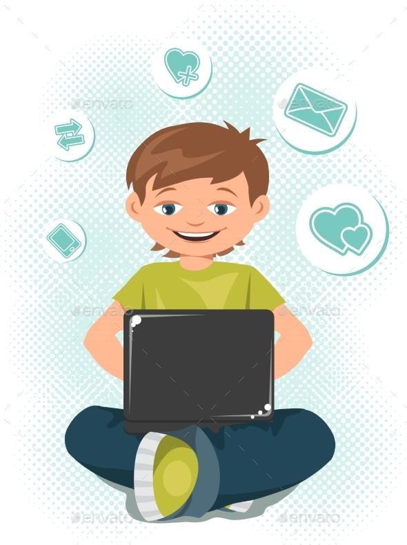 GraphicRiver Young Teen Boy Working on a Laptop 9713322