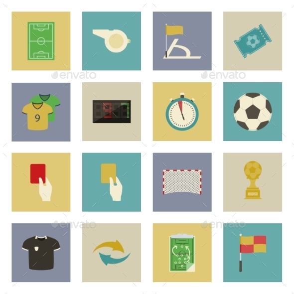 GraphicRiver Soccer Flat Icons Set 9713400